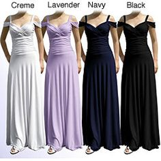 @Overstock - This Evanese long gown is perfect for special occasions. The elegant women's dress features bra-friendly shoulder straps, off-the-shoulder fabric draping, sweetheart neckline, surplice bodice, wide ruched empire waist, and a floor-sweeping skirt.http://www.overstock.com/Clothing-Shoes/Evanese-Womens-Off-the-Shoulder-Long-Gown/4032106/product.html?CID=214117 $89.99