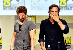 Jeremy Renner and Mark Ruffalo during the Marvel panel at San Diego Comic Con, July 26, 2014.