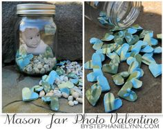Under The Table and Dreaming: Mason Jar Photo Display Hearts