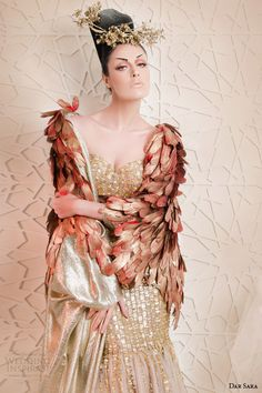 Dar Sara haute couture 2014 2015 metallic gold mermaid wedding dress floor length feather cape close up