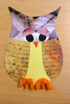 Owl made from magazine images