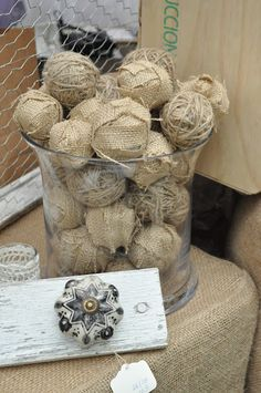 Wrap balls in burlap and twine for vase filler.