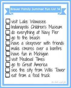 summer bucket list/ summer fun list free printable!