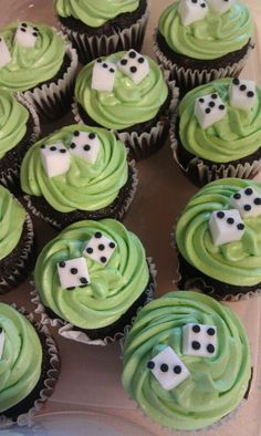 Made these cute cupcakes for Bunco fundraiser...sugar cubes with black frosting (small round writing tip)