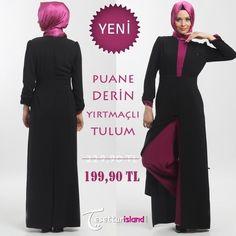 Şıklık ve Kalite bir arada olsun istiyor musunuz? Farklı renk seçenekleriye Puane Derin Yırtmaçlı Tulumu sizlere sunuyoruz. http://bit.ly/1tVezlP #hijab #tesettur #hijabfashion #tesettürisland #royal #class