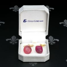 GOLD LINE Vintage Gents or Lady Cufflinks Dark Pink Natural Stones Original Box