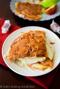 Caramel Apple Brie Quesadillas - an easy 20 minute recipe. Extra crispy and cheesy! sallysbakingaddiction.com