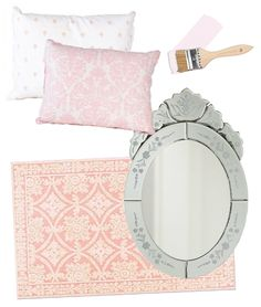 Keep the #nursery #romantic with #pink #damask and a Venetian mirror.