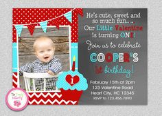 Boys Valentine's Day Birthday Invitation  by TheTrendyButterfly