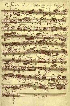 Bach Sonata No.1 in G minor for unaccompanied Violin, original manuscript