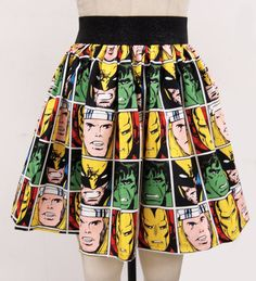 NEW Comic Book Block Skirt by on Etsy