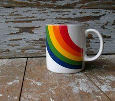 Vintage Rainbow Mug. $9.00, via Etsy.  Just happy making