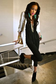 This is the perfect romper/jumpsuit  paired with a blazer #blackfashion ankle tattoos, stairs, jumpsuit, fashion whore, romper, fan, earring, ankl tattoo, black girls