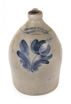Pennsylvania stoneware jug, 19th c., impressed Cowden & Wilcox Harrisburg, with cobalt floral decoration