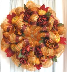 Gorgeous #fall deco mesh wreath in #gold and #burgundy
