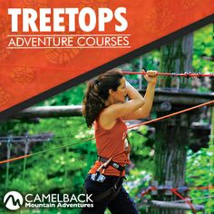 Over 100+ Aerial Obstacles make up our  heart pounding TreeTops Course, set in a natural setting of the mountain---right on the slopes of Camelback. The obstacles are suspended between trees and you stay securely clipped into a red safety cable throughout the course.  The features in the courses include zip lines, suspended bridges, scramble nets, swinging logs and much more. #PoconoMtns #TreeTops