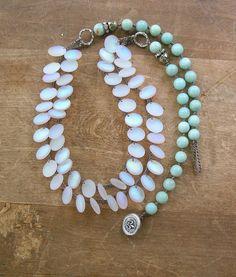 Boho statement necklace - Tail of the Mermaid - Bohemian jewelry crochet strand necklace, sundance, beach jewelry, amazonite artisan jewelry via Etsy