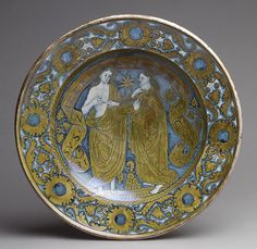 Dish, ca. 1520  Italian (Deruta)  Tin-glazed earthenware (majolica) with on-glaze blue painting and luster