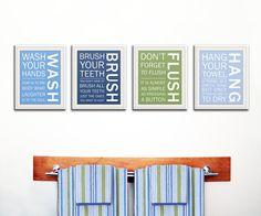 Kids bathroom decor Bathroom art bathroom prints by Wallfry, $60.00