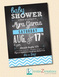 CHALKBOARD CHEVRON baby shower invitation by kristinZkreations chalkboards, shower invitations, berni babi, chalkboard chevron, chevron babi, shower idea, parti idea, babi shower, baby showers