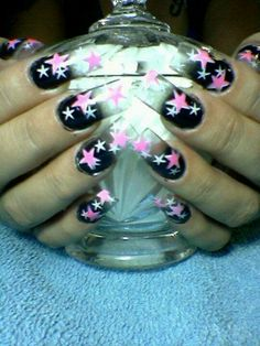 Clear Acrylic nails with airbrushing.
