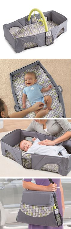 Travel bed + changing station. Folds for easy storage.