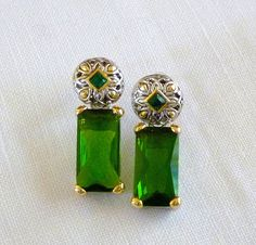 Vintage Emerald Green Baguette Earrings