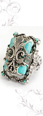 Vintage inspired Rings by Ollipop- French Silver Turquoise Unique Vintage