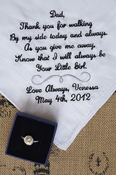 handkerchief for dad on wedding day.  Can also make one for mom and in-laws