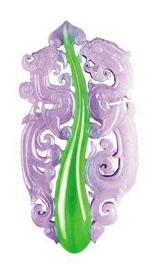 Jadeite Artist Junyi Wang green pendant, phoenix dragon