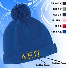 Greek 2-Color Embroidered Knit Pom Beanie $17.95 #Greek #Sorority #Accessories #Gifts #Clothing #Hat #NoMinimums