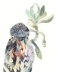Burrowing Owl and Echeveria - Original watercolor painting