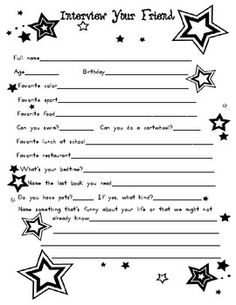 """FREEBIE ~ Interview Your Friend - We used this the last week of school in my first grade class, but other grade levels could use it as well. I introduced it as, """"We've spent a school year together, but how well do we know each other?"""""""