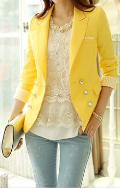Love the delicate lace shirt paired w/ striped sleeve yellow blazer- gorgeous yellow outfits, fashion, blazer outfits, outfits with purple jeans, chic yellow jacket, yellow blazer outfit, blue blazers outfits, chicago outfits, lemon yellow outfit