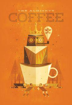 jorsh pena, coffee, art prints, owl, vector design