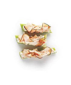 original pin: Snack Idea: Sliced Turkey and Cream Cheese on Celery Sticks.  My thoughts: I think this is a great snack or I'll do several and eat them for lunch too. Nice non-bread idea. Simple, but I had not thought of wrapping them in Turkey.