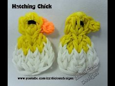 Rainbow Loom BABY CHICK Hatching from Egg. Designed and loomed by Kate Schultz of Izzalicioius Designs. Click photo for YouTube tutorial. 03/06/14