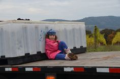 Transporting the grape totes during harvest.