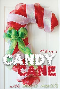 How to make a #Candy #Cane #Wreath using #Deco Poly #Mesh