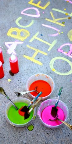 An exciting prewriting exercise with erupting sidewalk chalk paint (recipe included!)