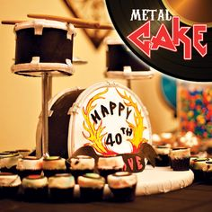 metal theme, heavy metal, drum set, set cake, heavi metal