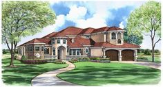 For Sale: Luxury Mediterranean Two-Story #houseplan featuring a large outdoor living space and dramatic two story foyer. Cabo House Plan 9025 - 3 Bedrooms and 3.5 Baths | The House Designers http://www.thehousedesigners.com/plan/cabo-9025/