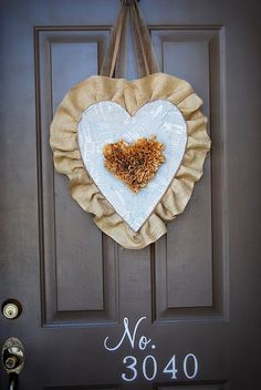 Burlap Valentine Heart for your front door! -- Tatertots and Jello #DIY #ValentinesDay