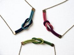 Knot necklace Custom color thread wrapped. $24.00, via Etsy.