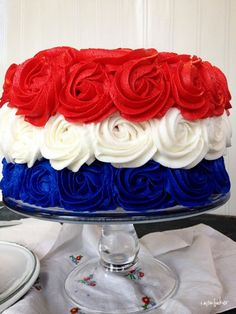 fourth of july, food, memorial day, red white blue, blue cakes, 4th of july, rose cake, independence day, blue roses