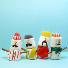 mustachioed marshmallow snowmen