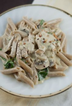 Penne Alfredo with Chicken, Mushrooms, and Spinach