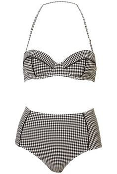 Black Gingham Retro Bikini - StyleSays
