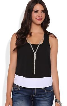 Deb Shops Colorblock Tank Top with Open Back and Charm Necklace $14.25