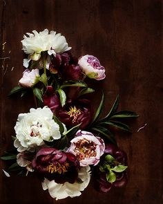 These moody peonies would add drama to a burlap or linen tablecloth.